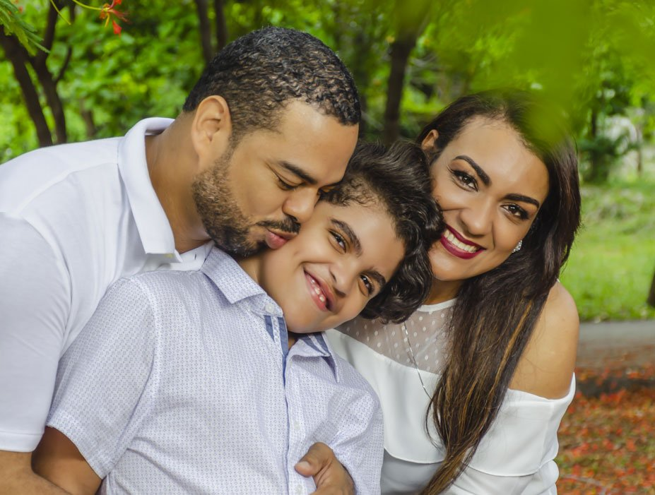Happy Latino Family and Child with Autism in Philadelphia
